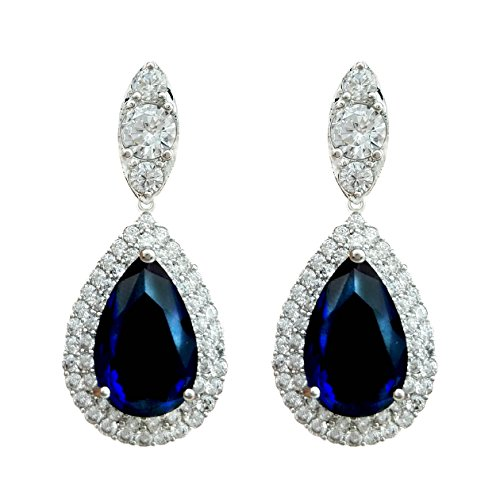 l Blue Sapphire Color Dangle Earrings Cubic Zirconia Silver Tone ()
