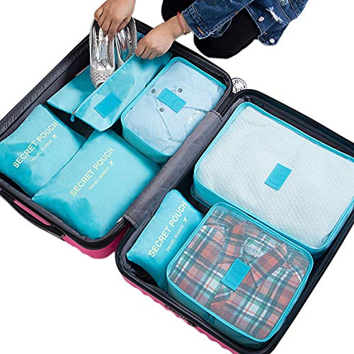 Belsmi 7 Set Packing Cubes With Shoe Bag - Compression Travel Luggage Organizer (Nylon Oxford- Blue)