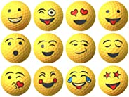 Yellow Emoji Professional Quality High-Visibility Distance Golf Ball Set of 12 for Course Play, Practice, Gift