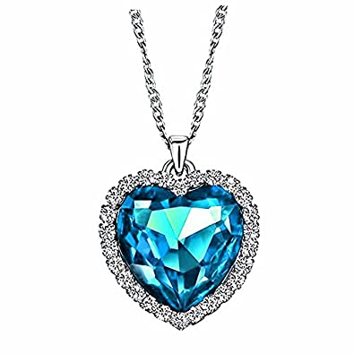 Amazon sinlifu titanic ocean heart jewelry set fashion crystal sinlifu titanic ocean heart jewelry set fashion crystal pendant and dangle earrings 925 silver with sapphire aloadofball Image collections