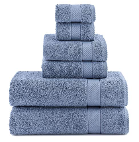 ixirhome Luxury Turkish Towel Set 6 Piece,100% Cotton, 2 Bath Towels, 2 Hand Towels and 2 Washcloths, Machine Washable, Hotel Quality, Super Soft and Highly Absorbent (Marine Blue)