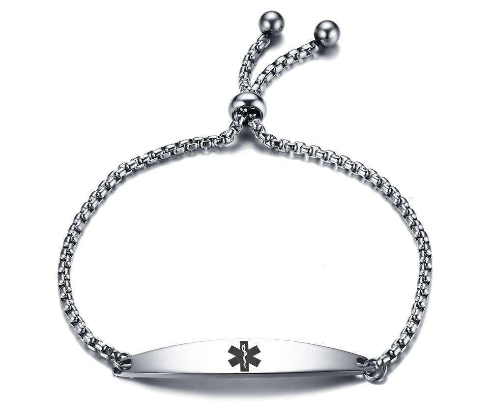 VNOX Custom Stainless Steel Medical Alert ID Adjustable Link Bead Bolo Bracelet for Women Girl