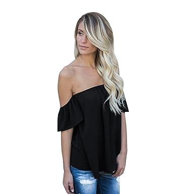 Manadlian - T-shirts,Femme T-Shirt sans Manches à Manches Longues ... f1cee14bda9f
