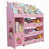 Kid Toy Storage Rack Oragnizer Boxes Display Cabinet Playroom Bedroom Children's Furniture (Color : Pink, Size : 114 * 30 * 110cm)