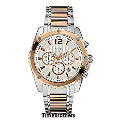 Guess U0165G2 chronograph silver dial stainless steel bracelet men watch NEW