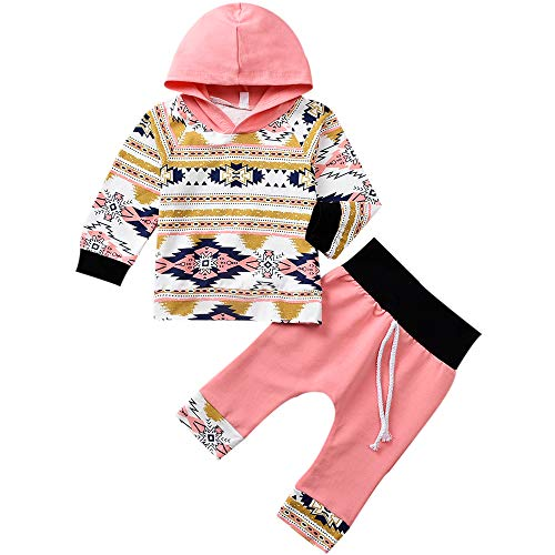 ASTRILL Toddler Baby Girl Fall Clothes Boho Print Hoodie and Pants 2PCS Outfits (Pink, 0-6 Months)