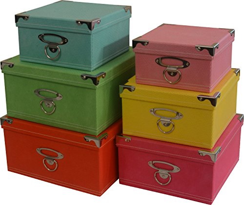 Decorative Boxes Uk: Decorative Storage Boxes In Pastel Colors, Nested, Metal