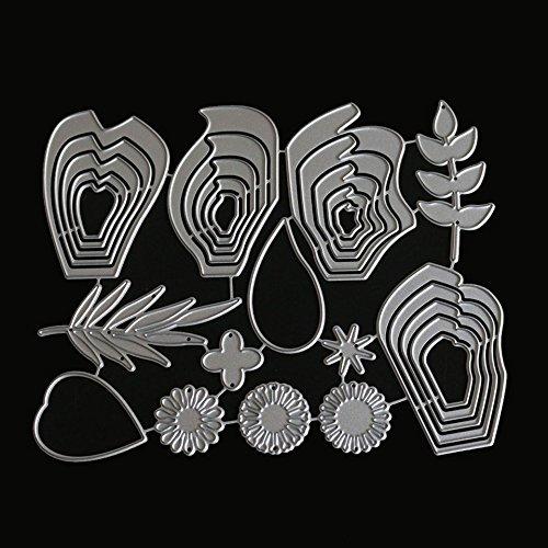 everpert 2pcs Rosa Flor rollo de corte de metal muere Plantillas para DIY Scrapbooking /álbum de fotos