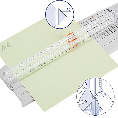Jielisi 12 inch Paper Trimmer, A4 Size Paper Cutter with Automatic Security Safeguard for Coupon, Craft Paper and Photo, White by JLS (Image #5)'