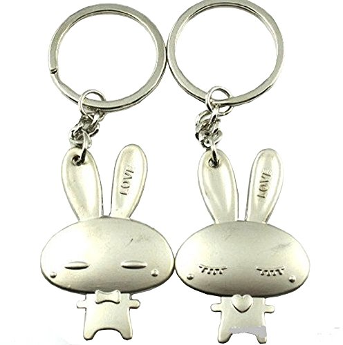 4EVER (Gift Box Packaged & Greeting Card) Lovely Cute Romantic Rabbit Pet Couple Keychain Sweetheart Pendant Lovers Key Ring Key Chain Best Gift for Easter Valentine's Day Wedding Anniversary (A Pair)