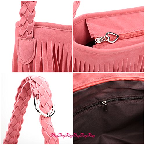 Fashion Fransen Damentasche Beutel Taschen Schultertasche Umhängetasche PU Wildleder mit Reissverschluss Pink OqeOf
