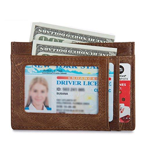 FOLCONROAD Minimalist Genuine Leather RFID Blocking Wallet, Slim Front Pocket Minimalist Wallet Card Holder Genuine Leather ID Window [BROWN] -