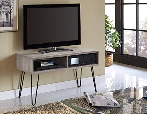 Altra Furniture 1748096PCOM Owen Retro TV Stand for TVs up to 42, Sonoma Oak Finish with Gunmetal Gray Metal Legs