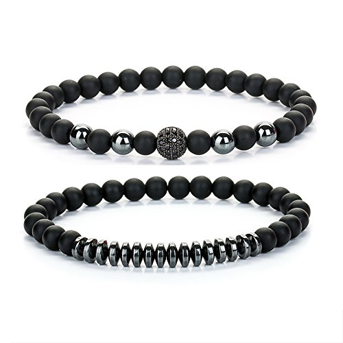 Joya Gift 6mm Black Round Beads Bracelet Set for Men Women Handmade Jewelry