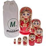 Moonmo 7pcs Cute Red Sweater Braid Girl Russian Wooden Nesting Dolls Matryoshka toys