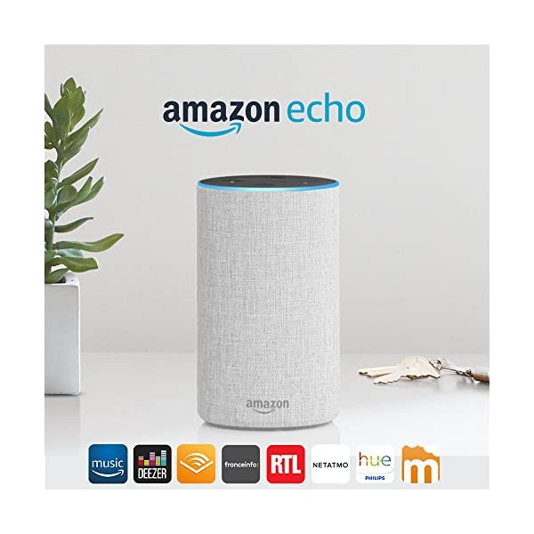 Amazon Echo (2ème génération), Enceinte connectée avec Alexa, Tissu sable 1