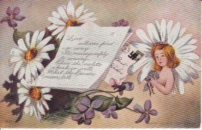 Vintage Unused Postcard Love Poem Lady Daisies Violets Hitler Nazi Emblem