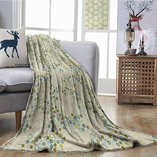 Fickdle Living Room/Bedroom Warm Blanket Flower Ornament of Medallion Shapes Bordered with Small Wildflowers Pattern Print Khaki Blue Green Print Summer Quilt Comforter W60 - Anchor Medallion Seat