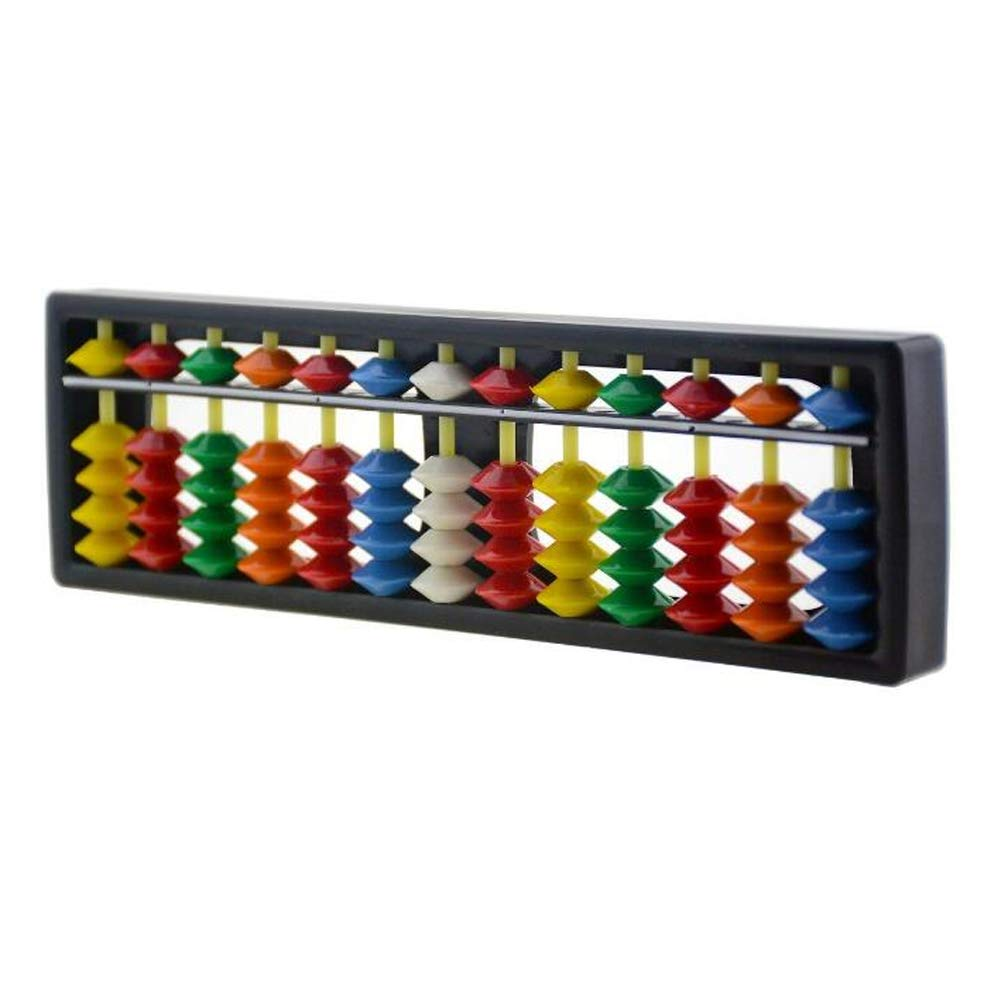 1Pcs ABS Abacus Chinese Calculator Frame 13 Digits Rods with Colorful Beads for Children Calculating and Arithmetic Mathematic Education XUMIN