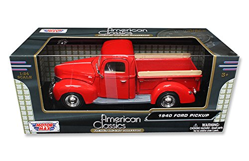 New 1:24 W/B AMERICAN CLASSICS COLLECTION - RED 1940 FORD PICKUP Truck Diecast Model Car By MOTOR MAX