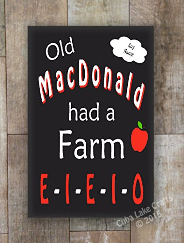 Eieio Farm - Wood Sign Old MacDonald Had a Farm EIEIO Home Decor Wall Hanging Primitive Rustic Nursery Kids Room Birthday Party