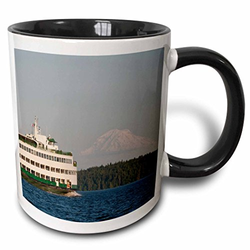 3dRose Danita Delimont - Boats - USA, Washington, Seattle, Ferry boat in Puget Sound - US48 TDR0961 - Trish Drury - 15oz Two-Tone Black Mug (mug_148680_9)