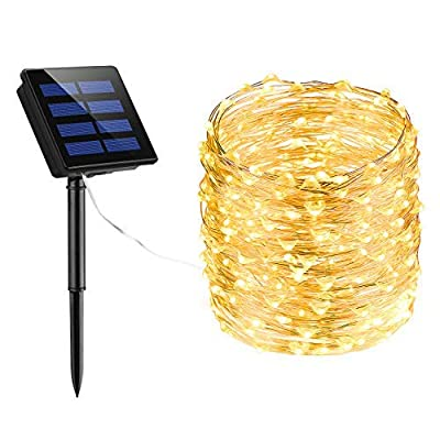 Litom 200 LED Solar String Lights, 72ft Outdoor String Lights 8 Modes Waterproof Decorative Fairy Light for Patio Garden Gate Yard Party Wedding Christmas Thanksgiving Halloween