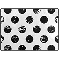 ALAZA Super Soft Modern Abstract Black And White Polka Dot Area Rugs Living Room Carpet Bedroom Rug for Children Play Solid Home Decorator Floor Rug and Carpets 63 x 48 Inch