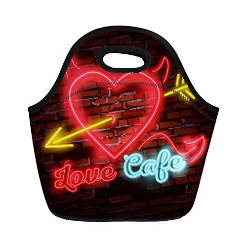 - Semtomn Neoprene Lunch Tote Bag Vintage Neon Diner Sign Love Heart Arrow Power Reusable Cooler Bags Insulated Thermal Picnic Handbag for Travel,School,Outdoors,Work