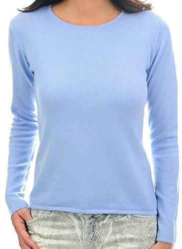 Balldiri 100% Cashmere Kaschmir Damen Pullover Rundhals 2-fädig himmelblau XS