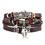 Aoruisier Men's Mixed Bracelets Adjustable Handmade Multi Strand Braided Owl Pendant Bracelets Woven Leather Wristbands