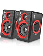 PC Speakers With Deep Bass, USB 2.0 Wired Powered Surround Computer Speaker for PC/Laptops/Desktops/TV/Smart Phone, RECCAZR SP2040 Multimedia Speaker Built-in Four Diaphragm