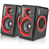 PC Speakers With Deep Bass, USB 2.0 Wired Powered Surround Computer Speaker for PC/Laptops/Desktops/TV/Smart Phone, RECCAZR SP2040 Multimedia Speaker Built-in Four Diaphragm (RED)