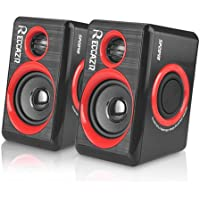 Computer Speakers With Deep Bass, USB 2.0 Wired Powered Surround Computer Speaker for PC/Laptops/Desktops/TV/Smart Phone, RECCAZR SP2040 Multimedia Speaker Built-in Four Diaphragm (red)