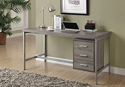 """Monarch Specialties Writing Drawers-Contemporary Style-Home & Office Computer Desk with Metal Frame, 60"""" L, Dark Taupe"""