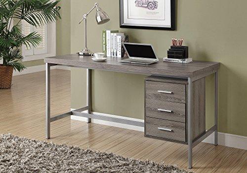 Monarch Reclaimed-Look/Silver Metal Office Desk, 60-Inch, Da
