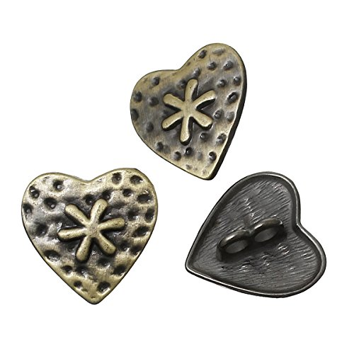 28 Heart Antiqued Brass Plated Zinc Sewing Metal Shank Buttons 3/4 Inch 19mm (Heart Sewing)