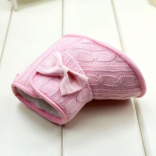 Longra Baby-Bowknot weiche Sohle Winter warme Schuhe Stiefel Rosa