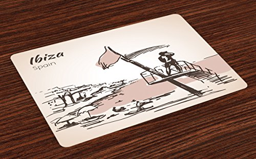 Lunarable Ibiza Place Mats Set of 4, Sketch Lifeguard Watching over the Beach Exotic Holiday South Spain Islands, Washable Fabric Placemats for Dining Room Kitchen Table Decor, Brown and Warm Taupe by Lunarable
