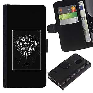 EJOY---Tirón de la caja Cartera de cuero con ranuras para tarjetas / Samsung Galaxy S5 V SM-G900 / --Cielo Lies Beneath A Madres Pies