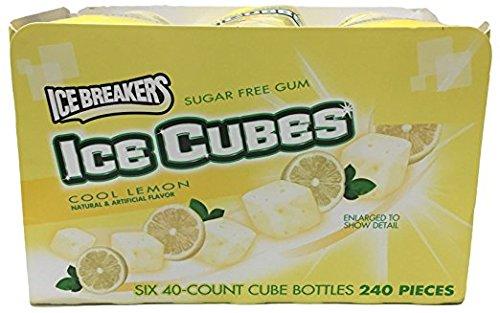 Ice Breakers Ice Cubes Sugar Free Gum (Cool Lemon, Pack of 6)