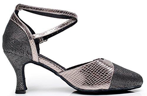 Danse Chacha Rumba toe nbsp;femme Dance Jj 6227 Mid Tango Tissu Gris Latine Cfp Fête De Piste Talon Round shoes xYqwfzHWX