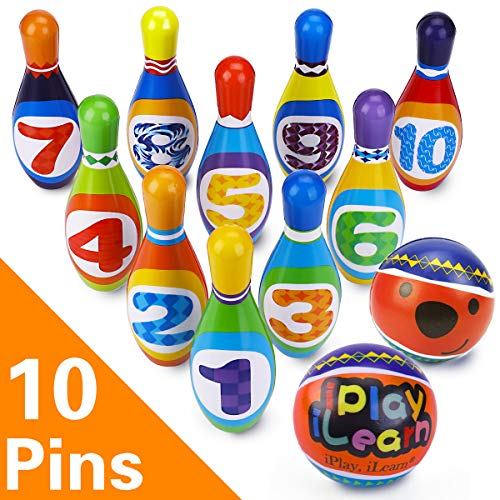 iPlay, iLearn Kids Bowling Play Set, Foam Ball Toy Gifts, Educational, Early Development, Sport, Indoor Toys, 10 Pins and 2 Balls for Ages 2, 3, 4, 5 Years Old, Children, Toddlers, Boys & Girls -