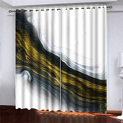Pamime 2 Panels Curtains 52X84 Inch,Blackout Window Curtain Black White Gold Marble Abstract Painted Background Closeup Acrylic Painting Canvas Dark Window Curtains