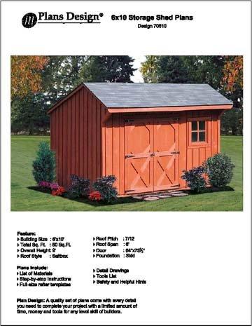 6' X 10' Saltbox Storage Shed/playhouse Plans - Design #70610
