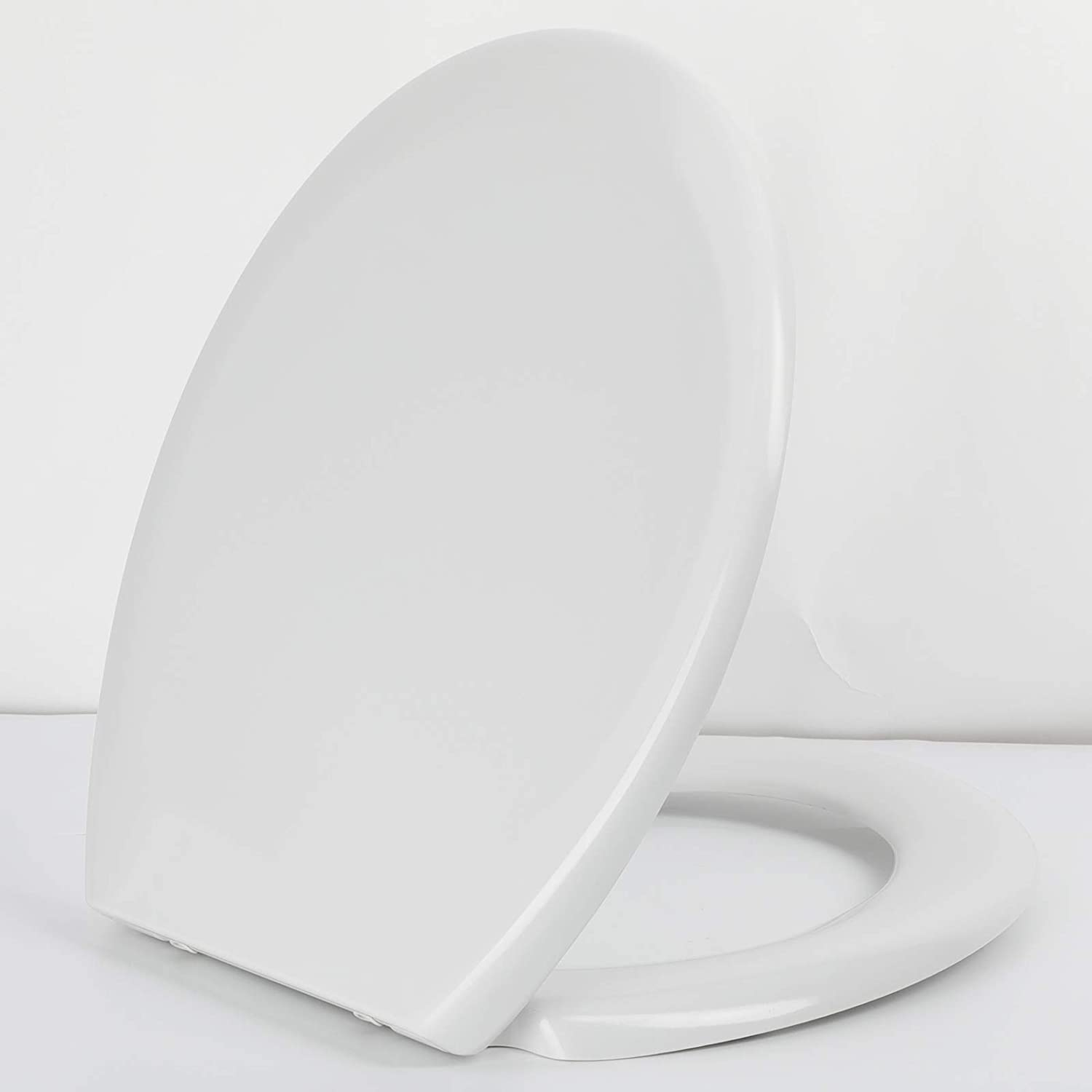 Toilet Seat, Soft Close Toilet Seats White with Quick Release for Easy Clean, Top Fixing, Stay Tight Toilet Lid Oval Shape, Heavy Duty Urea-Formaldehyde Anti-Bacterial Material with Stainless Hinges