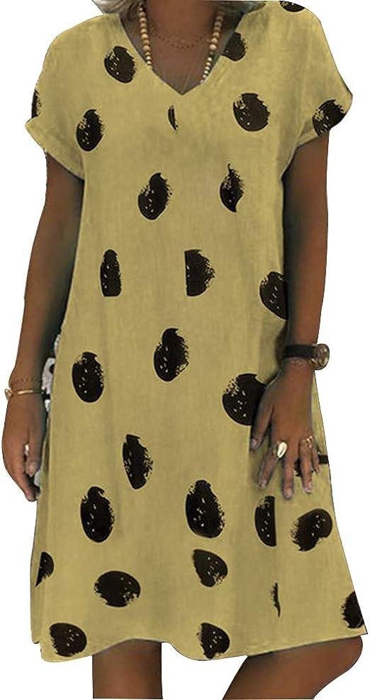 Vestido Boho Para Mujer Sundress Vintage Étnico Verano Algodón Lino Impreso Casual Kaftan Vestidos Manga Corta Cuello En V Camiseta Suelta Vestido Midi Beach Para Mujer Tallas Grandes,B,XXXL: Amazon.es: Hogar
