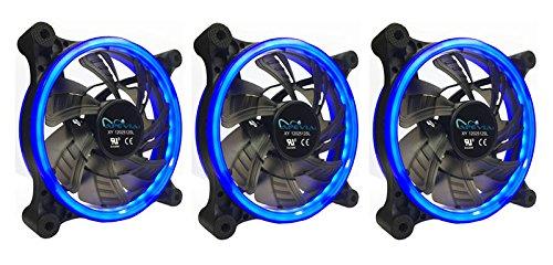 3 Fan Cooler Apevia 312l-cbl 120mm Silent Dual Rings Blue Le