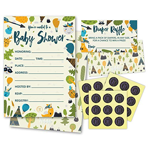 Baby Shower Invitations Woodland Animals with Envelopes - 25pc Set - by -