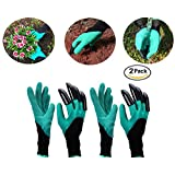 Rubikliss Garden Genie Gloves 2 Pack for Men & Women with Fingertips Right Claws Quick & Easy to Dig & Plant, Safe for Rose Pruning, Nursery Plants , Waterproof- As Seen On TV